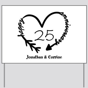 Custom Anniversary Doodle Heart Yard Sign