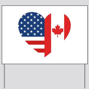 Canadian American Flag Love Yard Sign