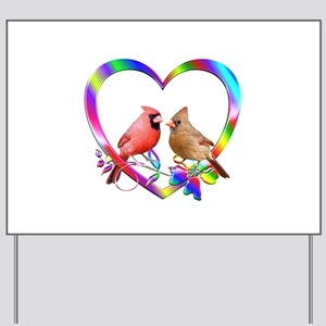 Cardinal Couple In Colorful Heart Yard Sign
