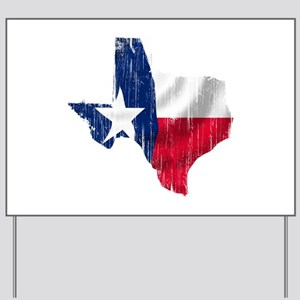Texas Shape Flag Distressed Yard Sign