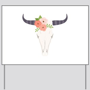 new arrival 1c607 56419 Cow Skull Flowers Bohemian Yard Sign