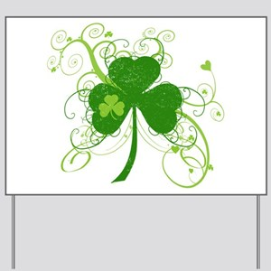 St Paddys Day Fancy Shamrock Yard Sign