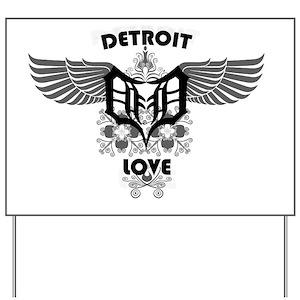Detroit Love Wings Yard Sign