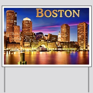 Boston Harbor at Night text BOSTON copy Yard Sign