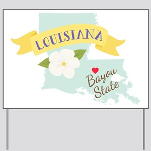 Louisiana Bayou State Outline Magnolia Flower Yard