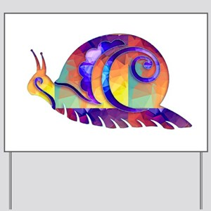 Polygon Mosaic Snail Multicolored Yard Sign