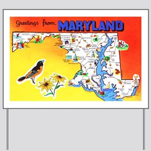 Maryland Map Greetings Yard Sign