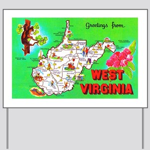 West Virginia Map Greetings Yard Sign