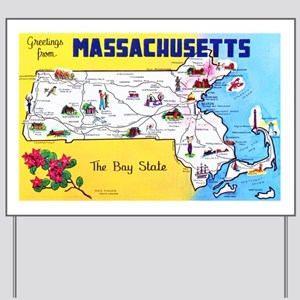Massachussetts Map Greetings Yard Sign