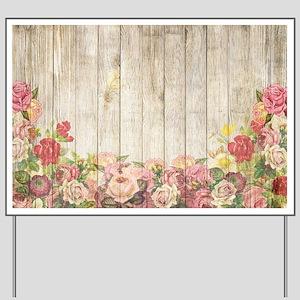 Vintage Rustic Roses Wood Yard Sign