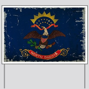 North Dakota State Flag VINTAGE Yard Sign