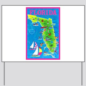Florida Map Greetings Yard Sign