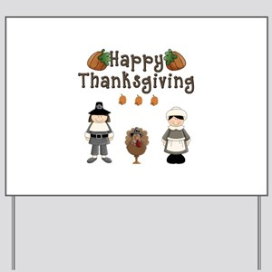 Happy Thanksgiving Pilgrims and Turkey Yard Sign