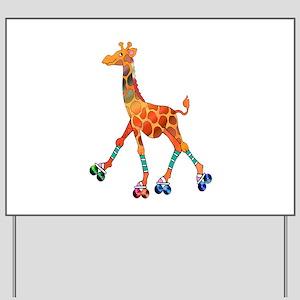 Roller Skating Giraffe Yard Sign