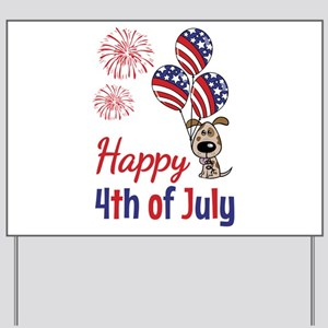 Happy 4th Doggy with Balloons Yard Sign