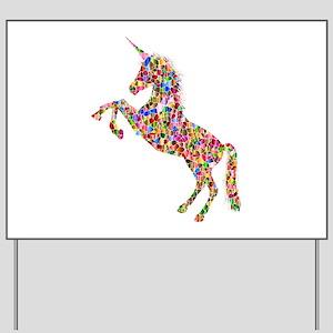 Prismatic Rainbow Unicorn Yard Sign