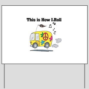 3-hippie bus Yard Sign