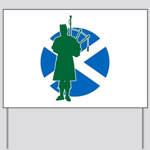Pipe Band Leader Silhouette Yard Sign