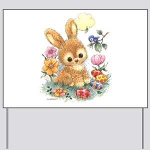 Cute Easter Bunny with Flowers and Eggs Yard Sign