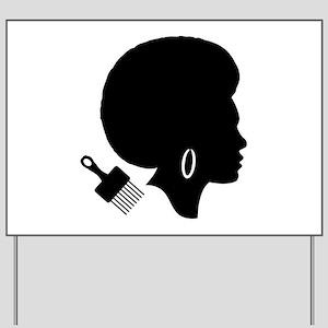 vintage black afro american woman Yard Sign