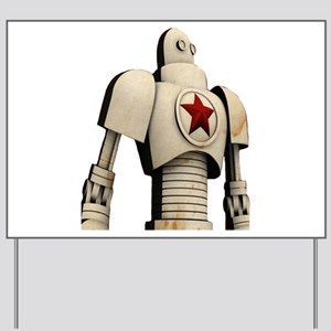 Robot soviet space propaganda Yard Sign