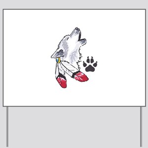 WOLF AND PAW PRINT Yard Sign