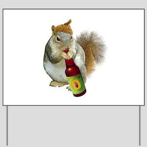 Squirrel Acorn Beer Yard Sign