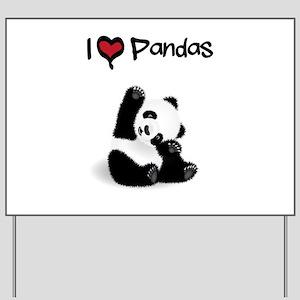 I Heart Pandas Yard Sign