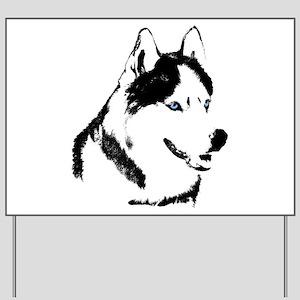 Siberian Husky Sled Dog Yard Sign