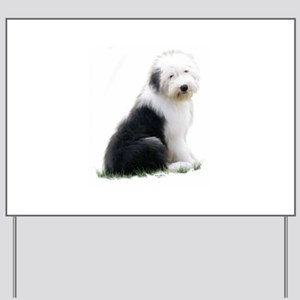 old english sheepdog puppy sitting Yard Sign