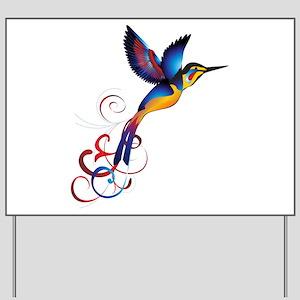 Colorful Hummingbird Yard Sign