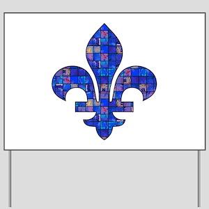 Blue Mosaic Fleur Yard Sign