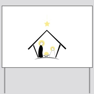 Baby In Manger Yard Sign