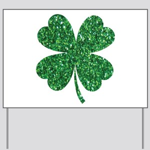 Green Glitter Shamrock st. particks Iris Yard Sign