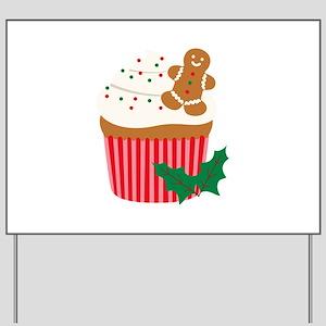 Christmas Cupcake Yard Sign