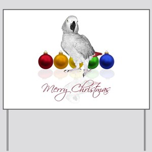 african grey christmas Yard Sign