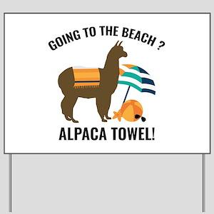 Alpaca Towel Yard Sign