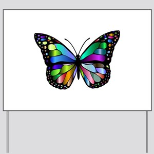 Prismatic Rainbow Winged Butterfly Yard Sign