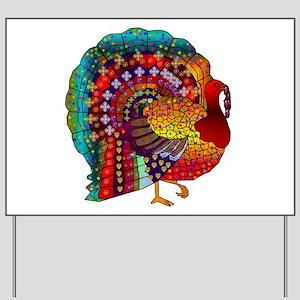 Thanksgiving Jeweled Turkey Yard Sign