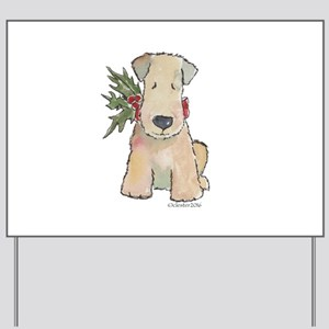 Wheaten Terrier with Holly Yard Sign
