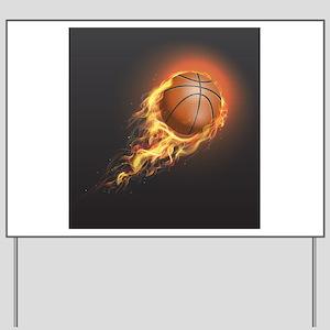 Flaming Basketball Yard Sign
