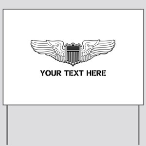 PERSONALIZED PILOT WINGS Yard Sign