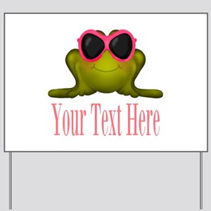 Frog in Pink Sunglasses Custom Yard Sign