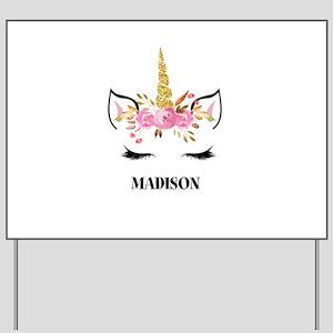 Unicorn Face Eyelashes Personalized Gift Yard Sign