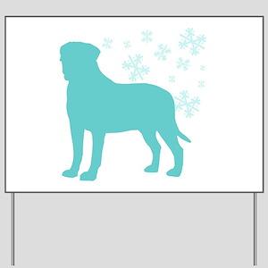 Bullmastiff Snowflake Yard Sign