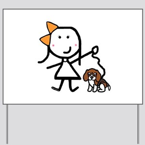 Girl & Beagle Yard Sign