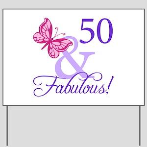 50th Birthday Butterfly Yard Sign