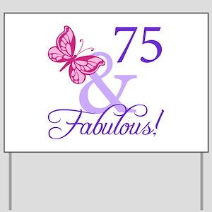 75th Birthday Butterfly Yard Sign