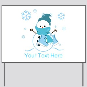 Merry Christmas Snowman Yard Sign