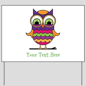Customizable Whimsical Owl Yard Sign
